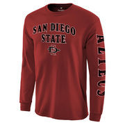 Men's Cardinal San Diego State Aztecs Distressed Arch Over Logo Long Sleeve Hit T-Shirt