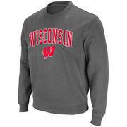 Men's Stadium Athletic Charcoal Wisconsin Badgers Arch & Logo Crew Pullover Sweatshirt