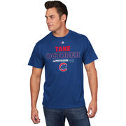 Men's Majestic Royal Chicago Cubs 2015 Playoff Authentic Collection Take October T-Shirt