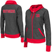Women's Adult Colosseum Charcoal Rutgers Scarlet Knights Velocity Cowl Neck Full Zip Jacket