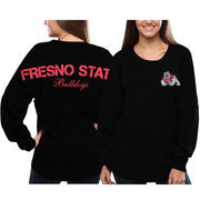Women's Fresno State Bulldogs Black Pom Pom Jersey Oversized Long Sleeve T-Shirt
