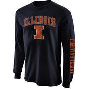Mens Illinois Fighting Illini Navy Blue Arch & Logo Long Sleeve T-Shirt