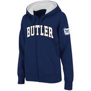 Women's Stadium Athletic Navy Butler Bulldogs Arched Name Full-Zip Hoodie