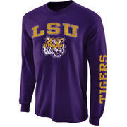 Mens LSU Tigers Purple Arch & Logo Long Sleeve T-Shirt