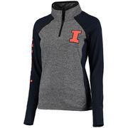 Women's Gray/Navy Illinois Fighting Illini Finalist Quarter-Zip Pullover Jacket