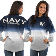 Women's Navy Navy Midshipmen Ombre Long Sleeve Dip-Dyed Spirit Jersey