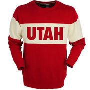Men's Bruzer Red Utah Utes Bar Down Crew Neck Sweater