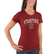 Women's New Agenda Heathered Cardinal Stanford Cardinal Big Arch & Logo Ring Spun T-Shirt