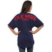 Women's Navy Ole Miss Rebels Spirit Jersey Oversized T-Shirt