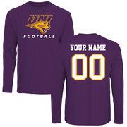 Men's Purple Northern Iowa Panthers Personalized Football Long Sleeve T-Shirt