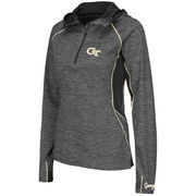 Women's Colosseum Charcoal Georgia Tech Yellow Jackets 1/4 Zip Hooded Wind Jacket
