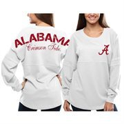 Women's Alabama Crimson Tide White Pom Pom Jersey Oversized Long Sleeve T-Shirt
