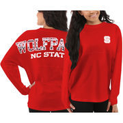 Women's NC State Wolfpack Red Aztec Sweeper Long Sleeve Oversized Top