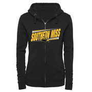 Women's Black Southern Miss Golden Eagles Double Bar Full Zip Hoodie