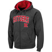 Men's Stadium Athletic Charcoal Rutgers Scarlet Knights Arch & Logo Full Zip Hoodie
