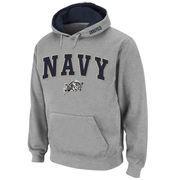Men's Stadium Athletic Gray Navy Midshipmen Arch & Logo Pullover Hoodie