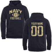 Men's Navy Navy Midshipmen Personalized Distressed Football Pullover Hoodie