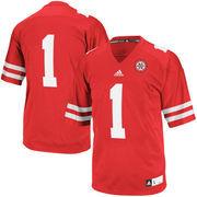Men's adidas Scarlet Nebraska Cornhuskers #1 Premier Football Jersey