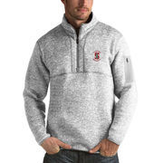 Men's Antigua Heathered Gray Stanford Cardinal Fortune 1/2-Zip Pullover Sweater
