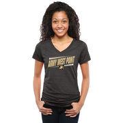 Women's Black Army Black Knights Double Bar Tri-Blend V-Neck T-Shirt