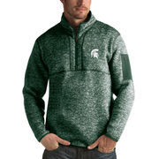 Men's Antigua Heathered Green Michigan State Spartans Fortune 1/2-Zip Pullover Sweater