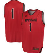 Men's Under Armour 1 Red Maryland Terrapins Special Games Basketball Replica Jersey