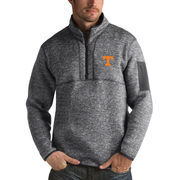 Men's Antigua Heathered Charcoal Tennessee Volunteers Fortune 1/2-Zip Pullover Sweater