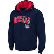 Men's Colosseum Navy Gonzaga Bulldogs Arch & Logo Full Zip Hoodie