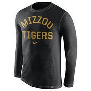 Men's Nike Heather Black Missouri Tigers Conviction Long Sleeve Tri-Blend T-Shirt