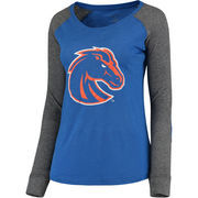 Women's Royal/Gray Boise State Broncos Preppy Elbow Patch Slub Long Sleeve T-Shirt