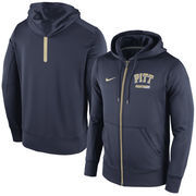 Men's Nike Navy Pitt Panthers Sideline KO Fleece Full Zip Therma-FIT Hoodie