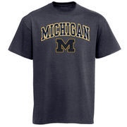 Men's New Agenda Charcoal Michigan Wolverines Arch Over Logo T-Shirt