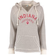Women's Blue 84 Cream Indiana Hoosiers Striped French Terry V-Neck Pullover Hoodie
