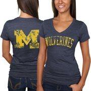 Michigan Wolverines Women's Slab Serif Tri-Blend V-Neck T-Shirt - Navy Blue