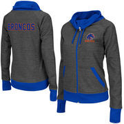 Women's Colosseum Charcoal Boise State Broncos Velocity Cowl Neck Full Zip Jacket