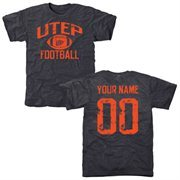 Men's Navy UTEP Miners Personalized Distressed Football Tri-Blend T-Shirt
