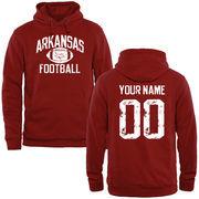 Men's Crimson Arkansas Razorbacks Personalized Distressed Football Pullover Hoodie