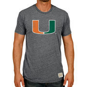 Men's Original Retro Brand Heather Black Miami Hurricanes Vintage Tri-Blend T-Shirt