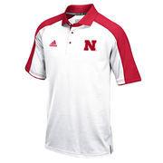 Men's adidas White/Scarlet Nebraska Cornhuskers 2016 Football Coaches Sideline climalite Polo