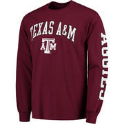 Men's Maroon Texas A&M Aggies Distressed Arch Over Logo Long Sleeve Hit T-Shirt