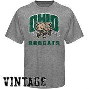 Ohio Bobcats Distressed Big Logo Ring Spun T-Shirt - Gray