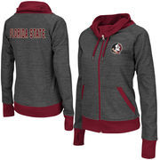 Women's Adult Colosseum Charcoal Florida State Seminoles Velocity Cowl Neck Full Zip Jacket