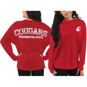 Women's Washington State Cougars Red Aztec Sweeper Long Sleeve Oversized Top