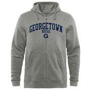 Men's Heathered Gray Georgetown Hoyas Arched School Name & Mascot Full-Zip Hoodie