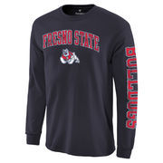 Men's Fanatics Branded Navy Fresno State Bulldogs Distressed Arch Over Logo Long Sleeve Hit T-Shirt