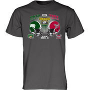 Men's Blue 84 Charcoal Ohio Bobcats vs. Troy Trojans 2016 Dollar General Bowl Dueling T-Shirt