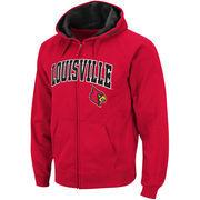Men's Stadium Athletic Red Louisville Cardinals Arch & Logo Full Zip Hoodie