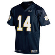 Men's Under Armour #14 Navy Notre Dame Fighting Irish Premier Football Performance Jersey