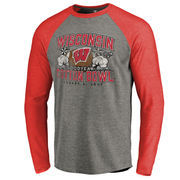 Men's Fanatics Branded Heather Gray Wisconsin Badgers 2017 Cotton Bowl Bound Prime Raglan Long Sleeve T-Shirt