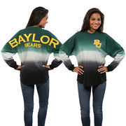 Women's Green Baylor Bears Ombre Long Sleeve Dip-Dyed Spirit Jersey